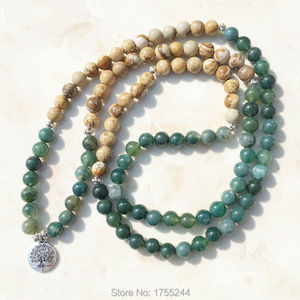 Image 2 - SN1005 mousse image naturelle pierre 108 Mala perles Yoga collier arbre de vie Mala Wrap Bracelet mode pierre naturelle bijoux