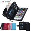 For iPhone XS Max Case Leather Flip Detachable Zipper Wallet Case For iPhone 6 6S Plus 7 8 X XR 5S SE Multifunction Case Cover