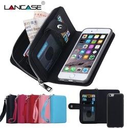 LANCASE Wallet Cases For <font><b>iPhone</b></font> 7 Case Leather <font><b>Flip</b></font> Detachable Zipper Wallet Case For <font><b>iPhone</b></font> <font><b>6</b></font>/6S/7/8/PLUS/X/XR/XS/XS MAX/5S/SE