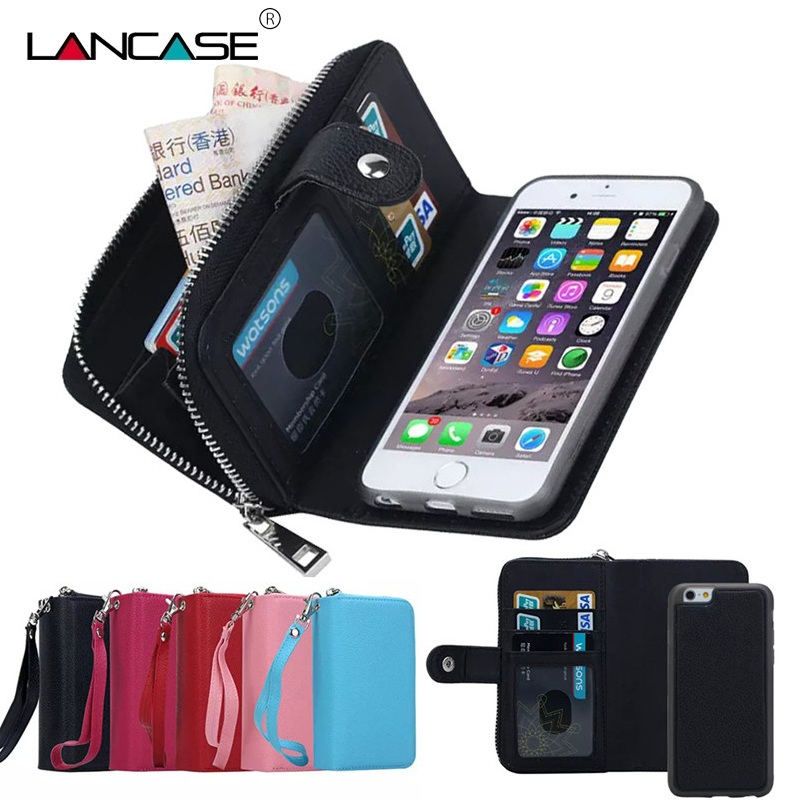 LANCASE Wallet Cases For iPhone 7 Case Leather Flip Detachable Zipper Wallet Case For iPhone 6/6S/7/8/PLUS/X/XR/XS/XS MAX/5S/SE