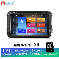 EKIY 8'' IPS 2 Din Android 9.0 Car Multimedia Player For VW POLO PASSAT b6 Golf 5 Skoda Octavia SEAT LEON Autoradio DVD GPS Navi