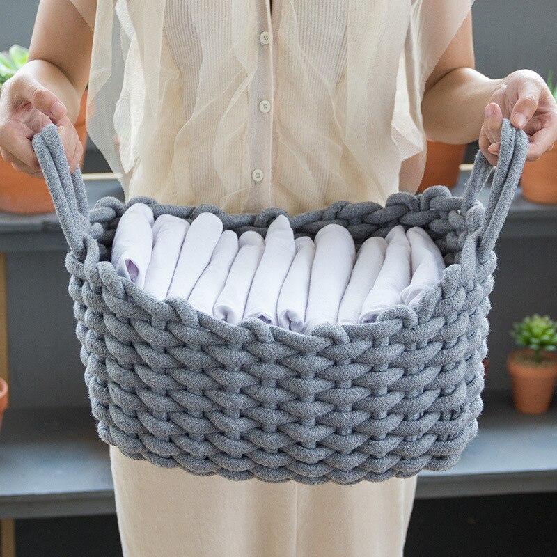 Linen Crochet Storage Basket Handmade Clothes Laundry Natural Fabric Baby Toys Desktop Small Organizer Box
