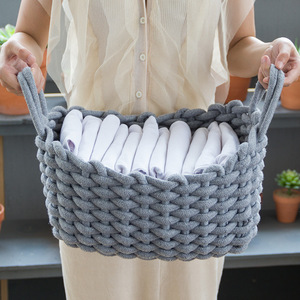 Linen Crochet Storage Basket H