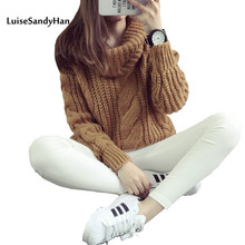 2017 new women's spring autumn winter thicken turtleneck pullover knitted sweaters women long slim sweater