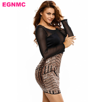 EGNMC Sexy Skinny Sheath Mini Dress Hollow Out Full Sleeve Lace Transparent Slim Autumn Summer Women Lady Ergonomic Dresses