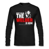 Halten Sie Ruhe Der Schweißer Ist Hier T Shirt Aus Baumwolle Benutzerdefinierte Langarm Herren T Shirts Fashion 2017 Top Auto-styling Männer Shirts