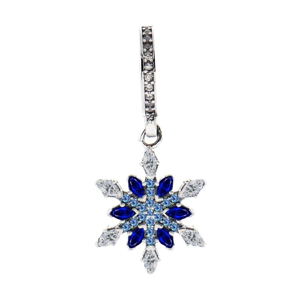 nuovo stile d36c2 574d3 US $7.69 30% di SCONTO|Adatto Pandora Braccialetti Dei Monili di 100% 925  Sterling Silver Beads Cristallizzato Fiocco di Neve Blu Cristalli CZ ...