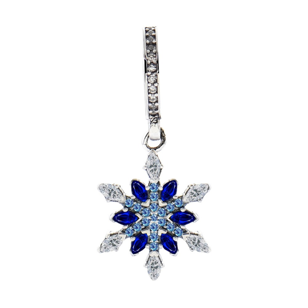 Fits Pandora Jewelry Bracelets 100 925 Sterling Silver Beads Crystalized Snowflake Blue Crystals CZ Original Charms