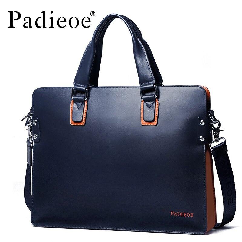 Padieoe 새로운 패션 정품 가죽 가방 비즈니스 남자 메신저 가방 럭셔리 브랜드 남자 서류 가방 새로운 디자이너 남성 노트북 핸드백-에서서류 가방부터 수화물 & 가방 의  그룹 3