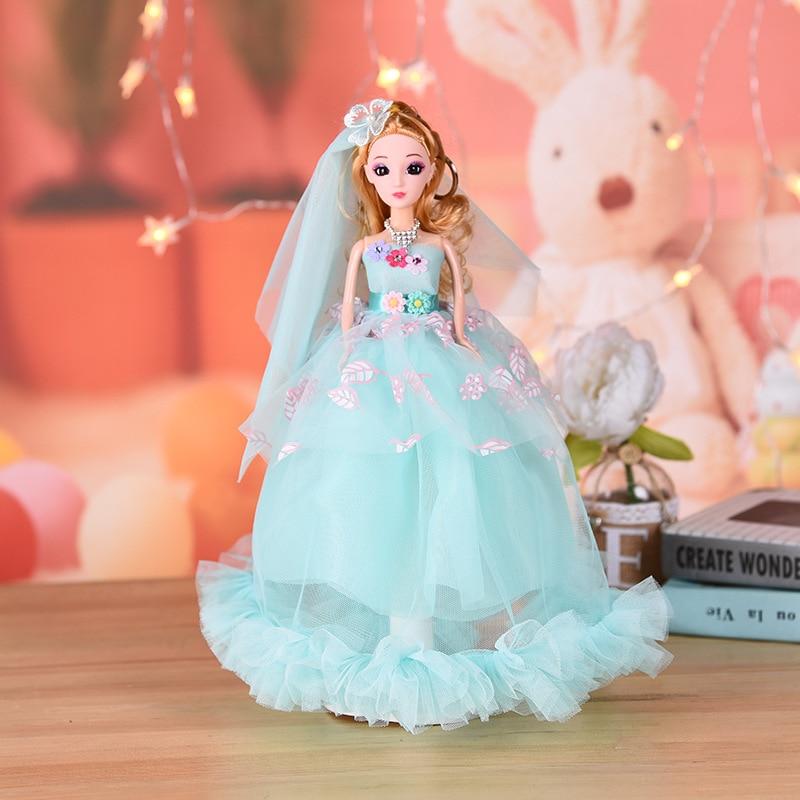 Jouets fille 3D yeux imprimé jupe mode princesse robe de mariée rose poupée jouets pour enfants poupées ensemble bébé jouet 35 CM