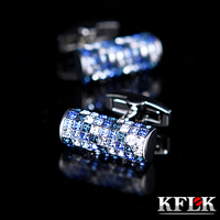 KFLK 2019 Luxury New shirt cufflink for mens Brand cuff buttons Austria Blue and White Crystal cuff link High Quality Jewelry