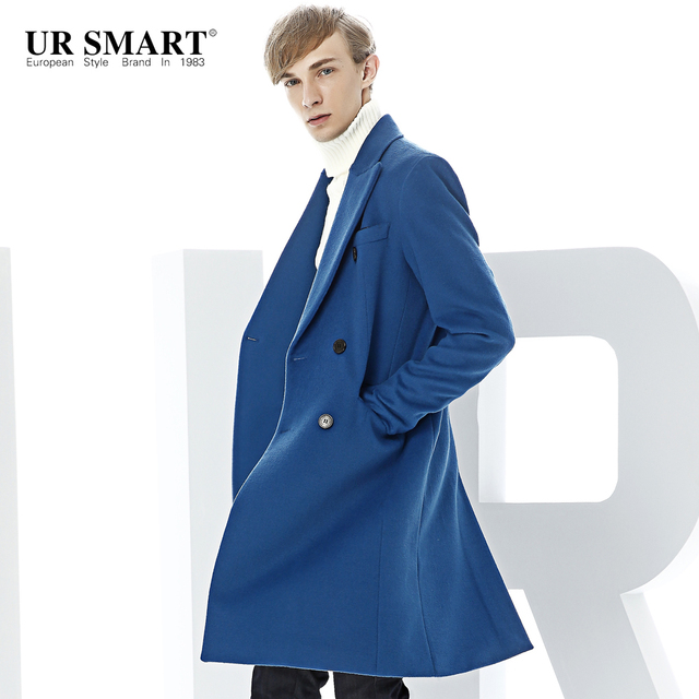 db5362e2880 URSMART British coat the doubles the double-breasted royal blue wool coat  new business cloth coat in winter