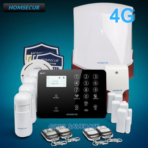 HOMSECUR Wireless 4G/3G/GSM LCD Burglar Intruder Alarm System+IOS/Android APP+Smoke Sensor