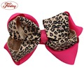1PCS Leopard Print Infant hairbows Ribbon bow hair clip Baby girls hairclip Girls Boutique Handmade Hair Bow prendedor de cabelo