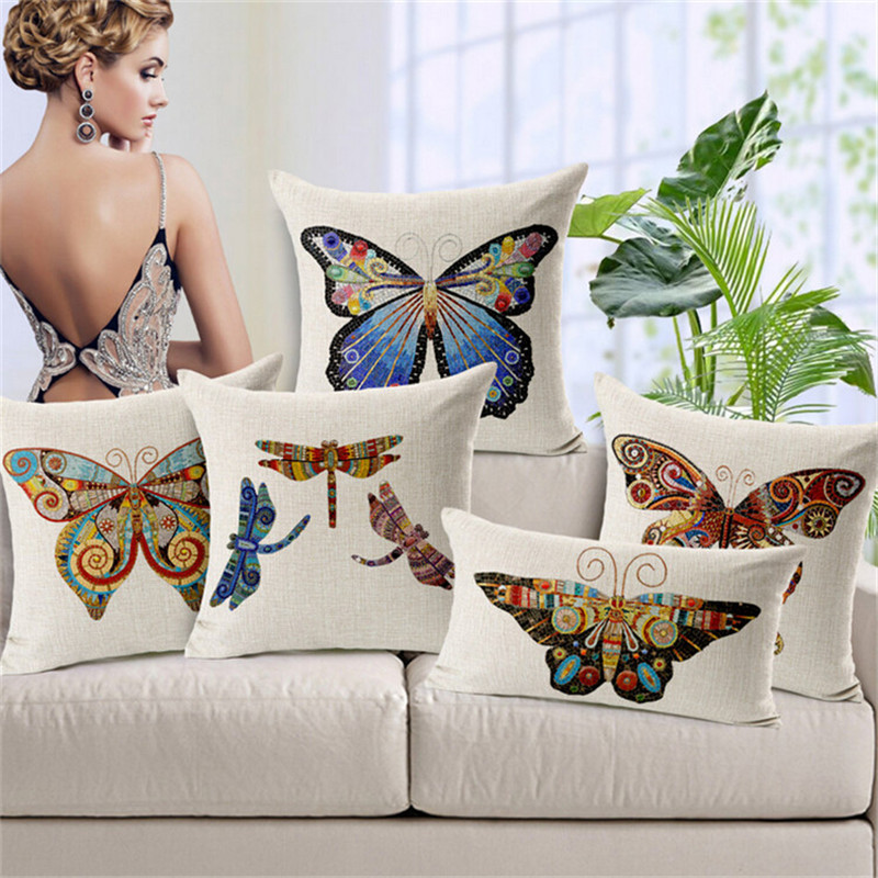 Hand Painted Butterfly Dragonfly Print Cushion Covers For Sofa 40 Interesting Hand Painted Pillow Covers