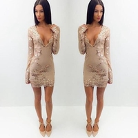 CFYH Elegant evening party sequin dress Women sexy deep v neck bodycon dress short beach summer casual dress mesh vestidos
