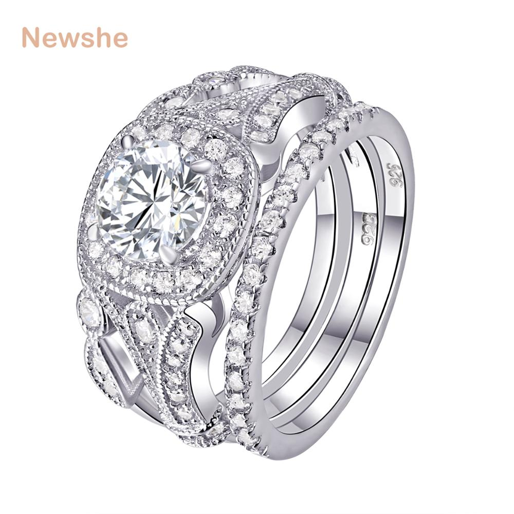 Newshe Wedding Ring Sets Classic Jewelry 925 Sterling Silver 1Ct Round AAA CZ Engagement Rings For Women Size 5-12 JR4681