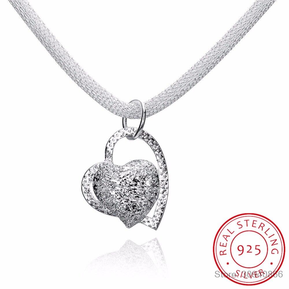 LEKANI 2018 Vintage Bijoux Luxury Love Heart Chain Statement Pendant Necklace 925 Sterling Silver Fine Jewelry Accessories Woman