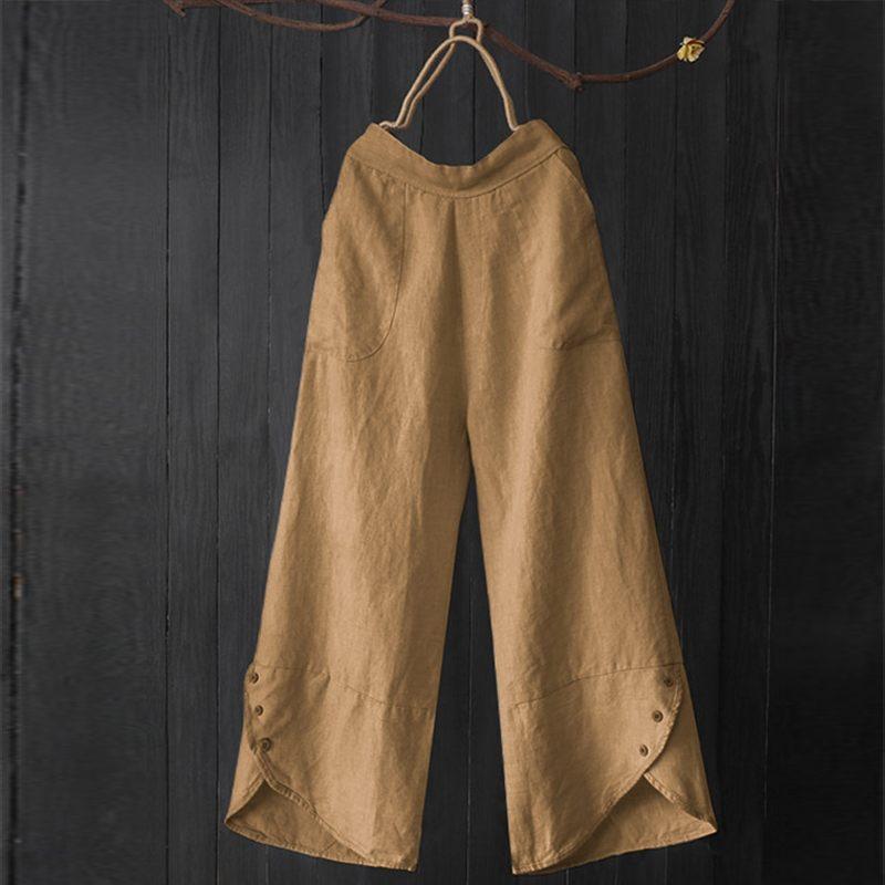 2019 Plus Size Casual Work Long Trousers Women Solid Elastic Waist   Wide     Leg     Pants   Vintage Button Irregular Loose Pantalon Female