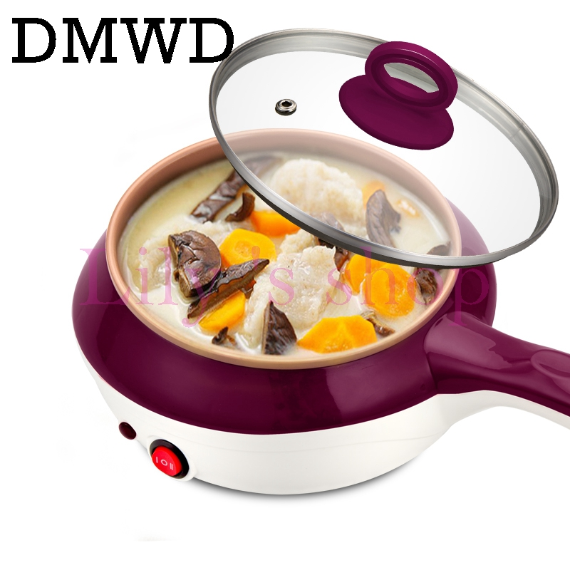 DMWD Mini Stainless Steel Food Steamer Egg Boiler Electric Skillet MultiCooker Noodles Soup Cooking Hotpot Steak Frying Pan EU