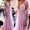 Incrível nova primavera A linha Prom Dresses 2016 colher manga comprida Side Slit pavimento comprimento contas de cristal Chiffon vestido de noite