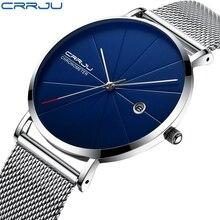CRRJU Для мужчин мужские часы Новый люксовый бренд Для мужчин модные спортивные кварц-часы Нержавеющаясталь сетка ремень ультра тонкие часы подарок часы