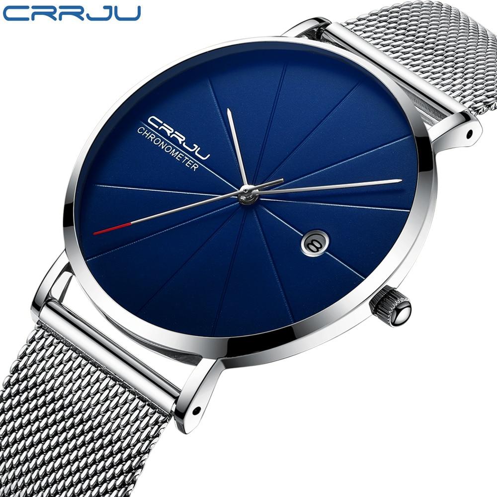 CRRJU hombres relojes nueva marca de lujo de los hombres de los deportes de moda de cuarzo correa de malla de acero inoxidable Ultra delgado Relojes regalo de reloj