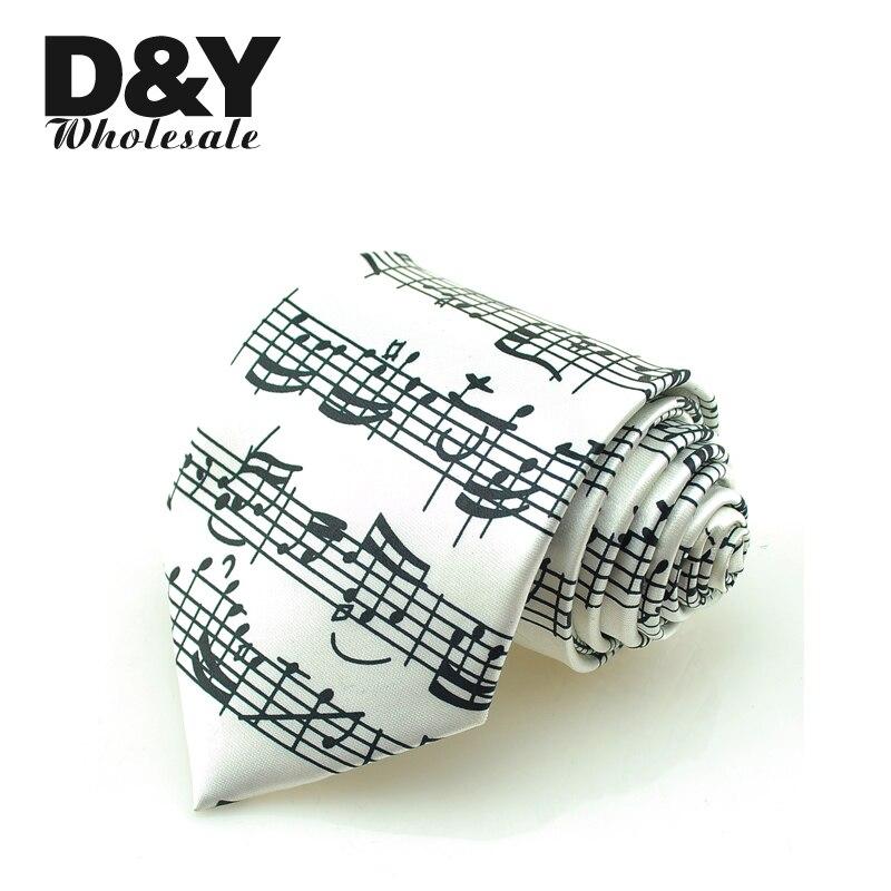 Man Ties 2018 Active 8cm Sound Spectrum White / Music Note Score Necktie Polyester Woven Classic Mens Wedding Party tie Corbata