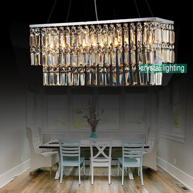 Contemporary Crystal Chandelier Modern Lighting Dining Room Lamp Light Restaurant Square