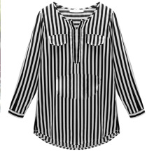 Nice Spring Summer Autumn For women/ladies Long Shirts V-neck Pullovers Shirt Striped Three Quarter Blouses Size XL-9XL
