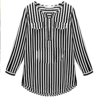 Nice Spring Summer Autumn For women/ladies Long Shirts V neck Pullovers Shirt Striped Three Quarter Blouses Size XL 9XL