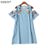 NIWIY Brand Folk Summer Strapless Sexy Dress Zomerjurken Dames 2017 Women Cotton Loose Sequins Flower Embroidery