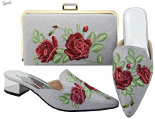 Hot sale poited toe sandal shoes and evening handbag set with flower embroidery MM6003 in silver