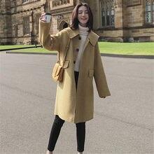 671ceac888b9 Frau Mäntel Winter Gelb 2018 Koreanische Stil Casual Wolle Lange Mantel Mode  Taschen Plus Größe Neue Mäntel