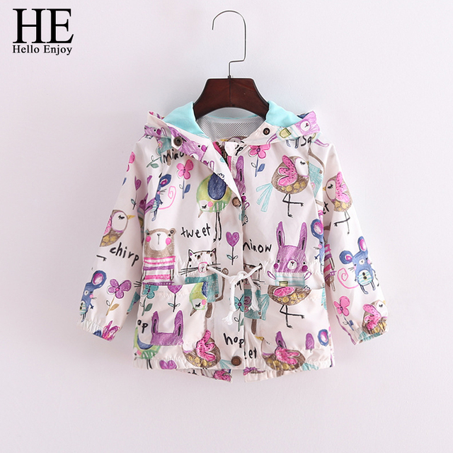 Hello Enjoy girls outerwear autumn Baby Girl Coat Print Cartoon Graffiti Hooded Zipper Girl Jacket Full Sleeve Toddler outerwear