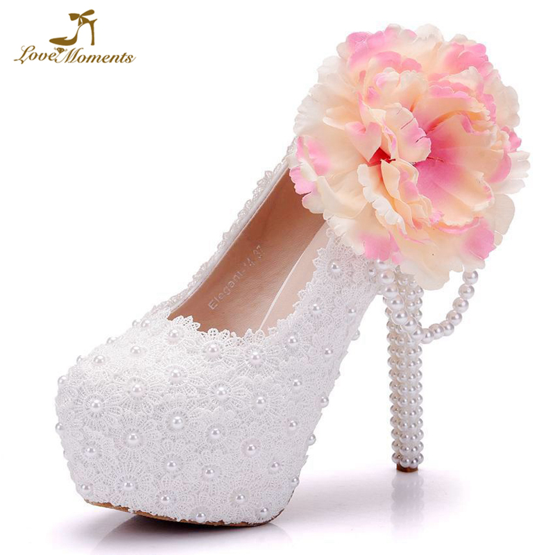 00be5782835 Pure White Flower Lace 5 Inches High Heel Platform Shoes Wedding Party Prom Pumps  Bridesmaid Shoes