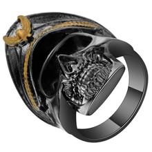 Devil Black Gun Color Pirates Skull Ring For Men New Punk Skeleton Wedding Bands Party Tail