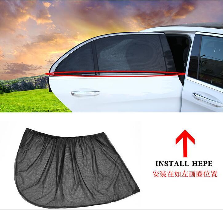 2Pcs Car Sun Shade UV Protection Car Curtain Car Window Sunshade Side Window Mesh Sun Visor Summer Protection Window Film New 4