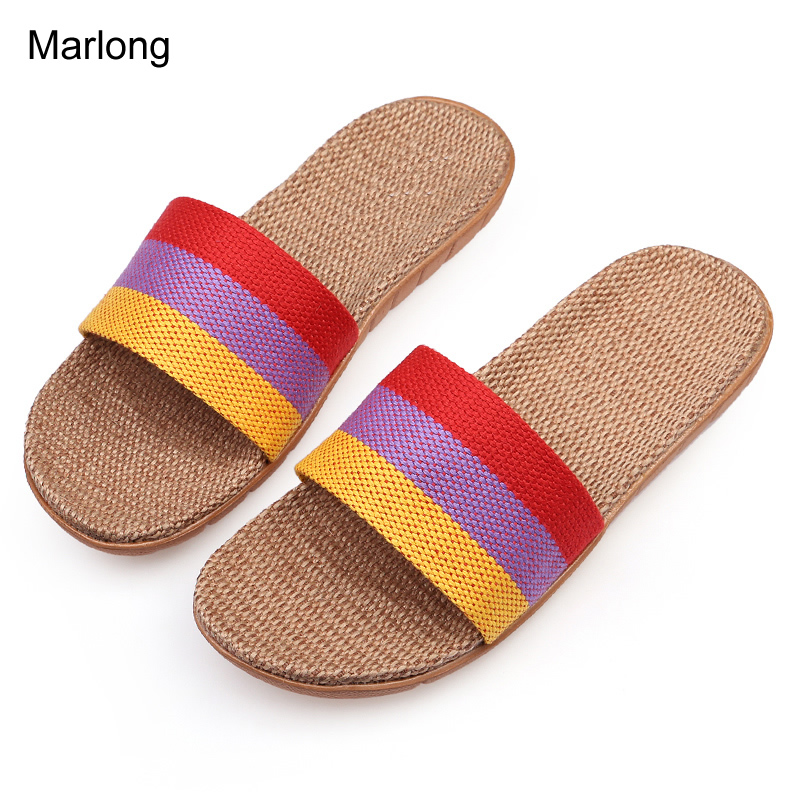 Marlong New Flax Home Slippers Indoor Floor Shoes Silent Sweat Slippers Non-slip Shoes For Summer Women Sandals marlong cotton cute slippers shoes soft plush non slip floor indoor house home furry slippers women shoes for bedroom
