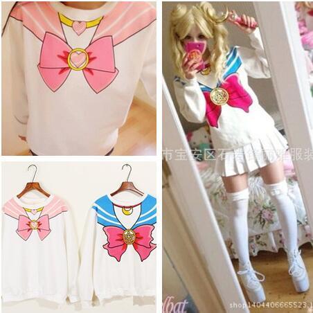Moletom Tracksuit Harajuku Sweatshirt Blue Pink Sweatwear For Women Sailor Moon Kpop Kawaii Hoodies