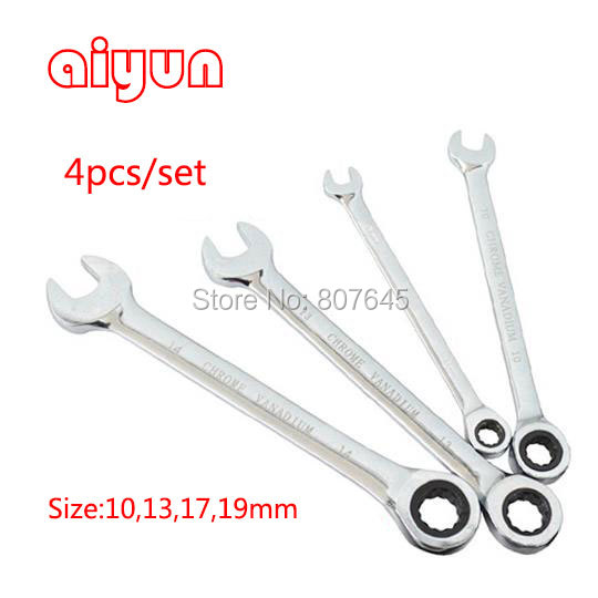 4pc combination wrench Box End Gear Wrench ratchet Wrench Set  spanner set 72T CRV grear wrench xkai 14pcs 6 19mm ratchet spanner combination wrench a set of keys ratchet skate tool ratchet handle chrome vanadium