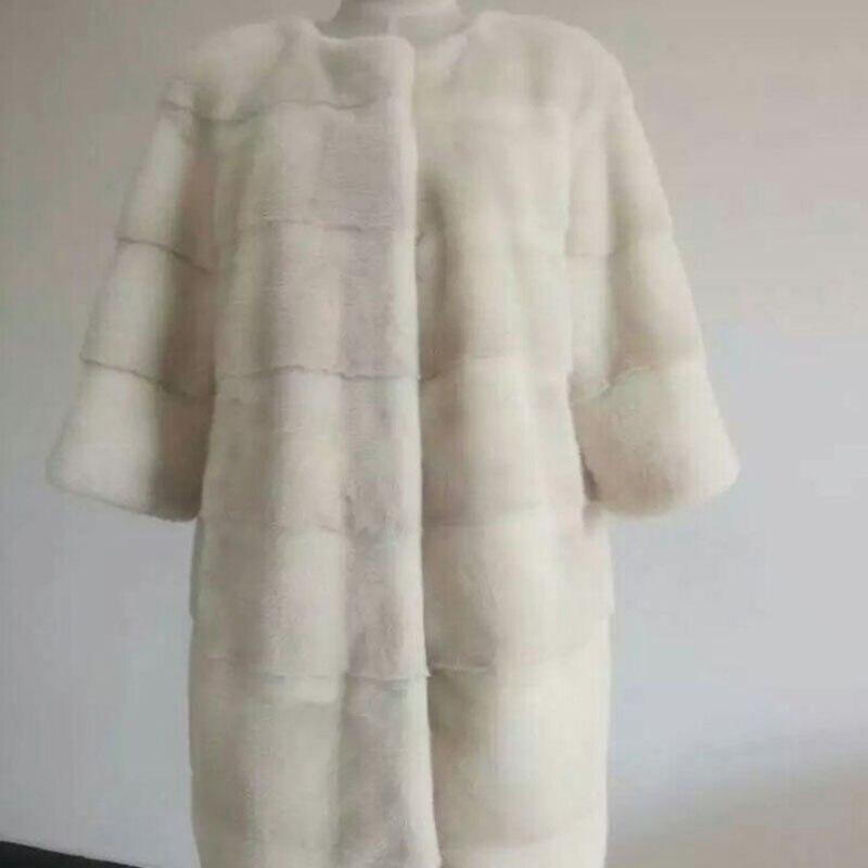 Frauen natürliche nerz pelzmantel oansatz drei viertel ärmeln langen abschnitt oberbekleidung weibliche winter mantel-in Echtes Fell aus Damenbekleidung bei  Gruppe 2