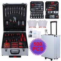 Newest 500pcs Organize Trolley Case Home Auto Repair Car Care Maintenance Hardware Tool Box Set Workshop Equipment