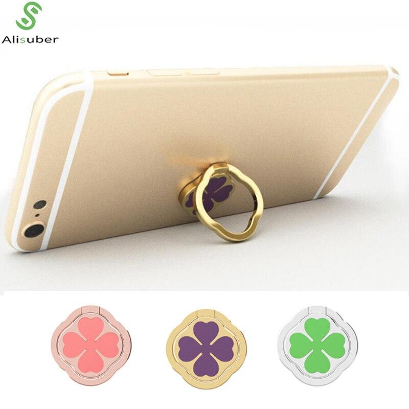 Alisuber Universal Magnetic Phone Holder 360 Degree Rotatable Phone Ring Four Leaf Clover Finger Ring Holder Cellphone Stand