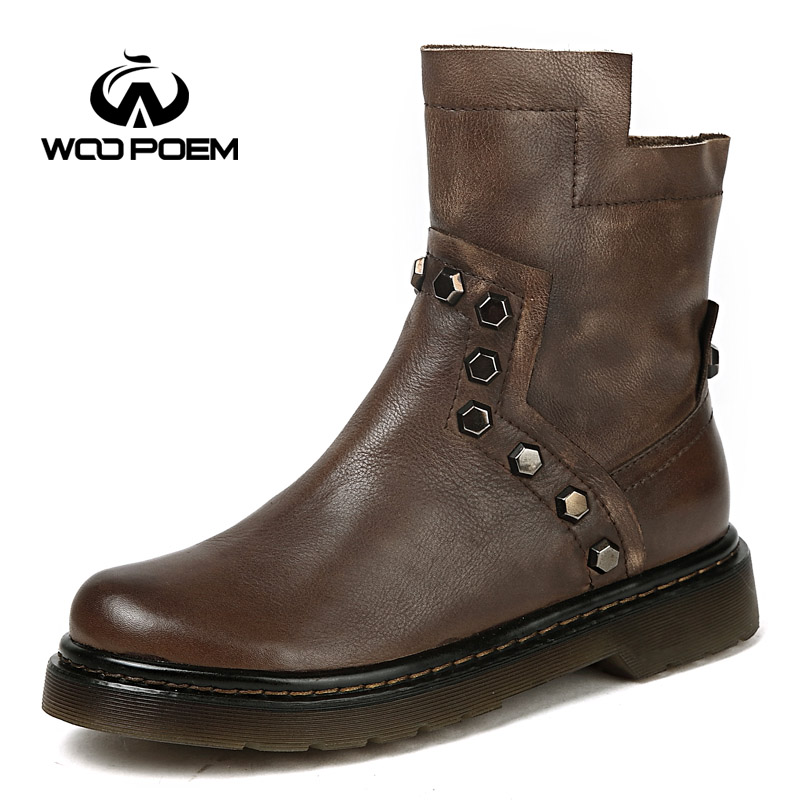 2017 Winter Shoes Woman Genuine Leather Boots Low Flat Heel Ankle Boots Rivet Motorcycle Boots Retro