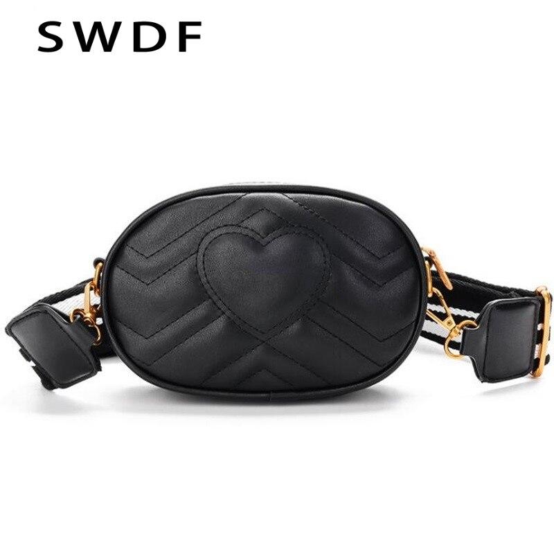 SWDF Shoulder-Bags Messenger Handbag Crossbody Leather Love-Logo Shiny Fashionable Women