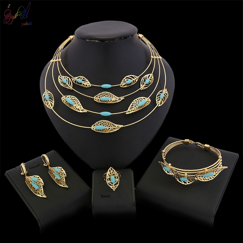 YULAILI Dubai Pure Gold Color Jewelry Sets Bridal Gift Nigerian Wedding African Beads Fashion Ladies Costume Accessories yulaili new coming pure yellow flower bridal wedding jewelry set nigerian ladies party wedding accessories