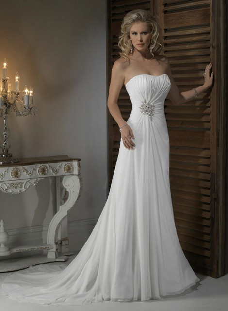 Elegant Clic Less Than 100 Dollar Scoop Neck Pleat Chiffon Wedding Dress With Lace Up Back