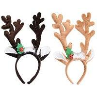 Carino Farcito Di Natale Fascia Capa Cerchio Dei Capelli Peluche Decorazione Di Natale Corna D'alce Campanello Loop Hairband di Natale per Bambini Capelli Fermaglio