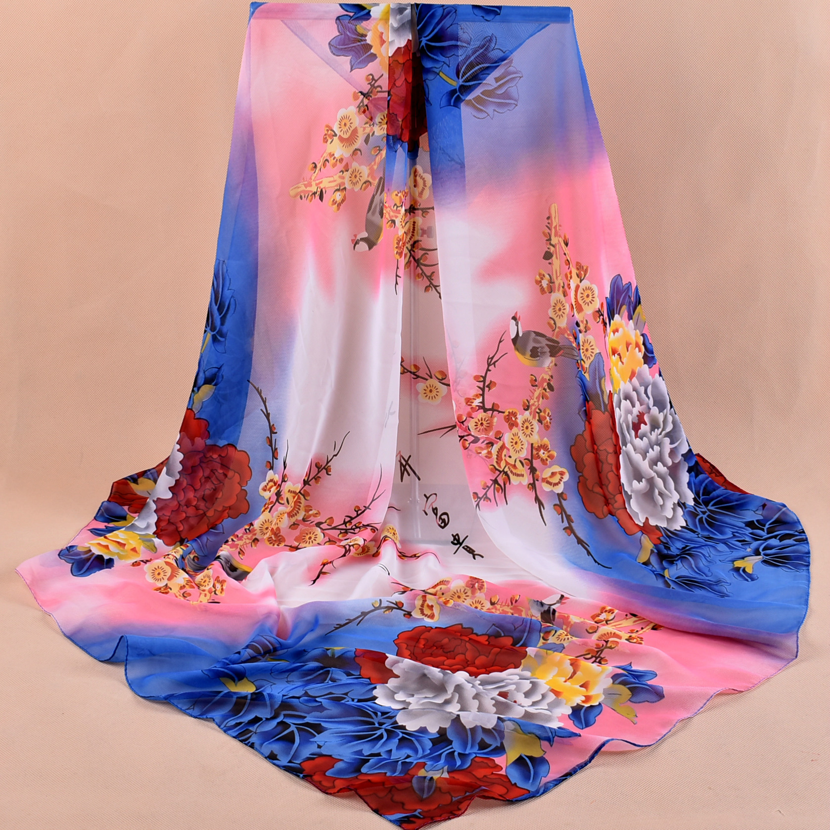 Scarf Real 2018 New Autumn And Winter Chiffon Georgette Printed Scarv Ethnic 90*90 Female Chinese Wind Peony Scarves Wholesale